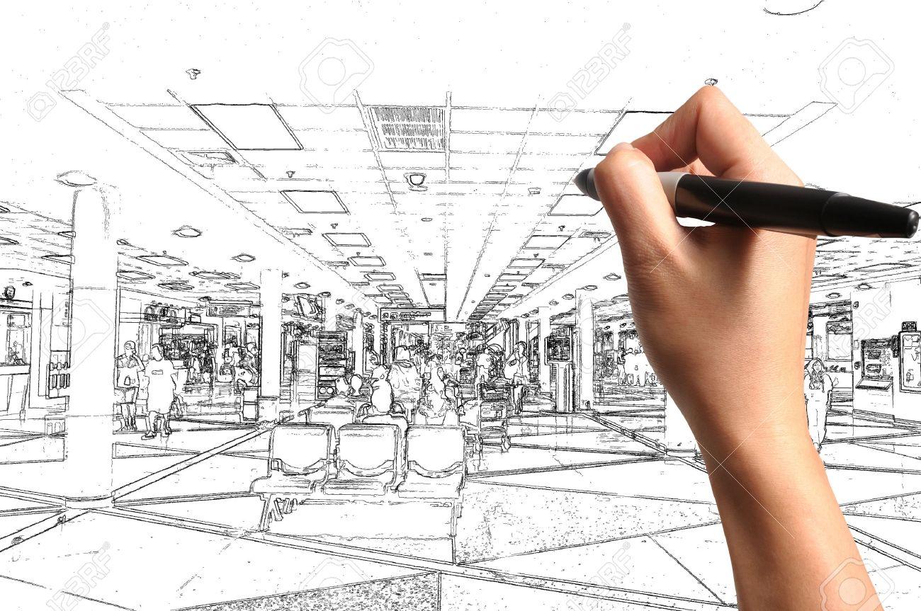 Männliche Hand Zeichnung Gebäude-und Innenarchitektur Als Architekt ...