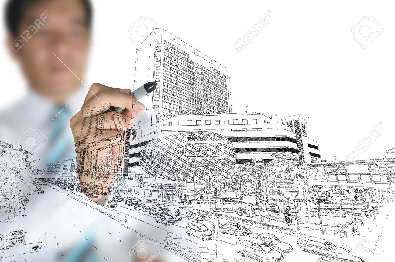 Business man draw modern building and cityscape Stock Photo - 12253189