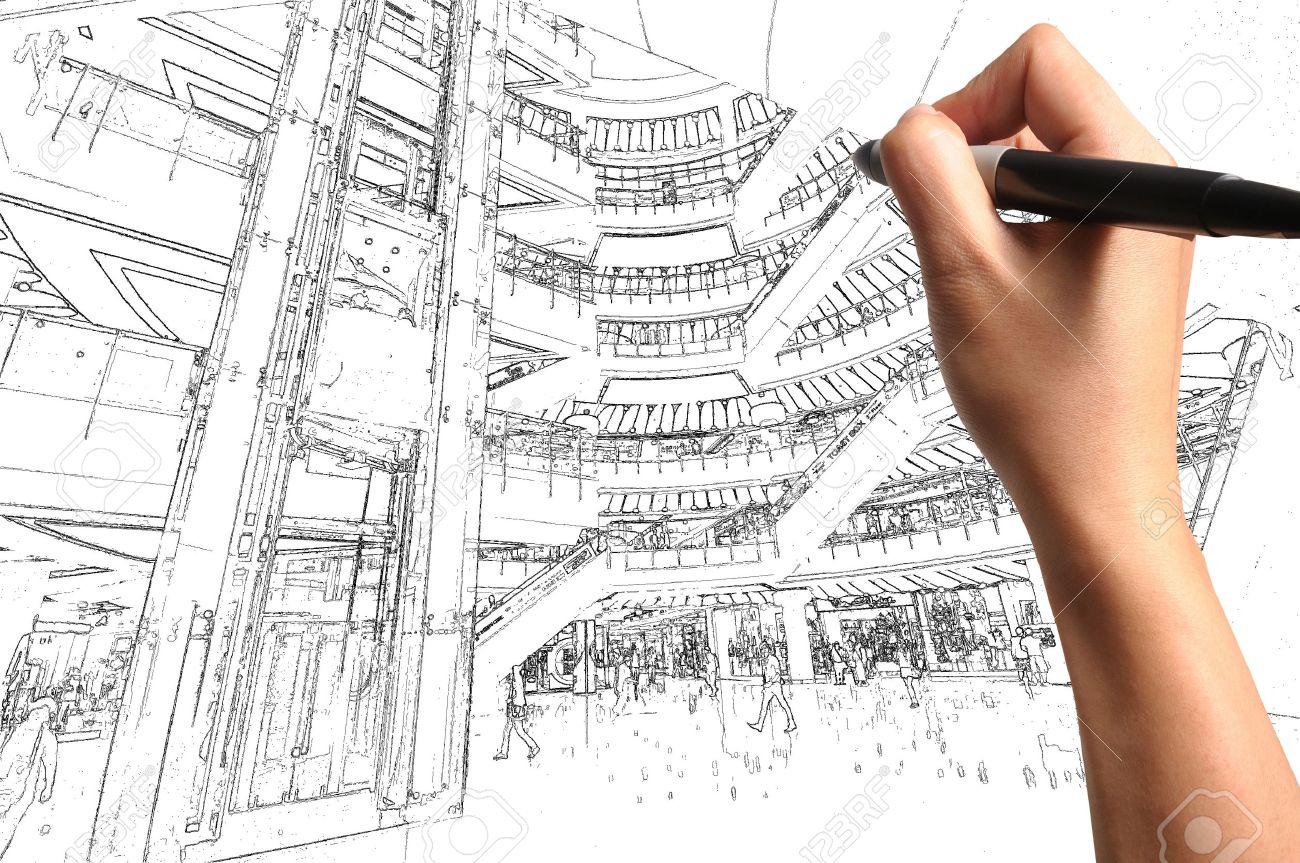 Male Hand Draw Building Interior Design Stock Photo - 12253239