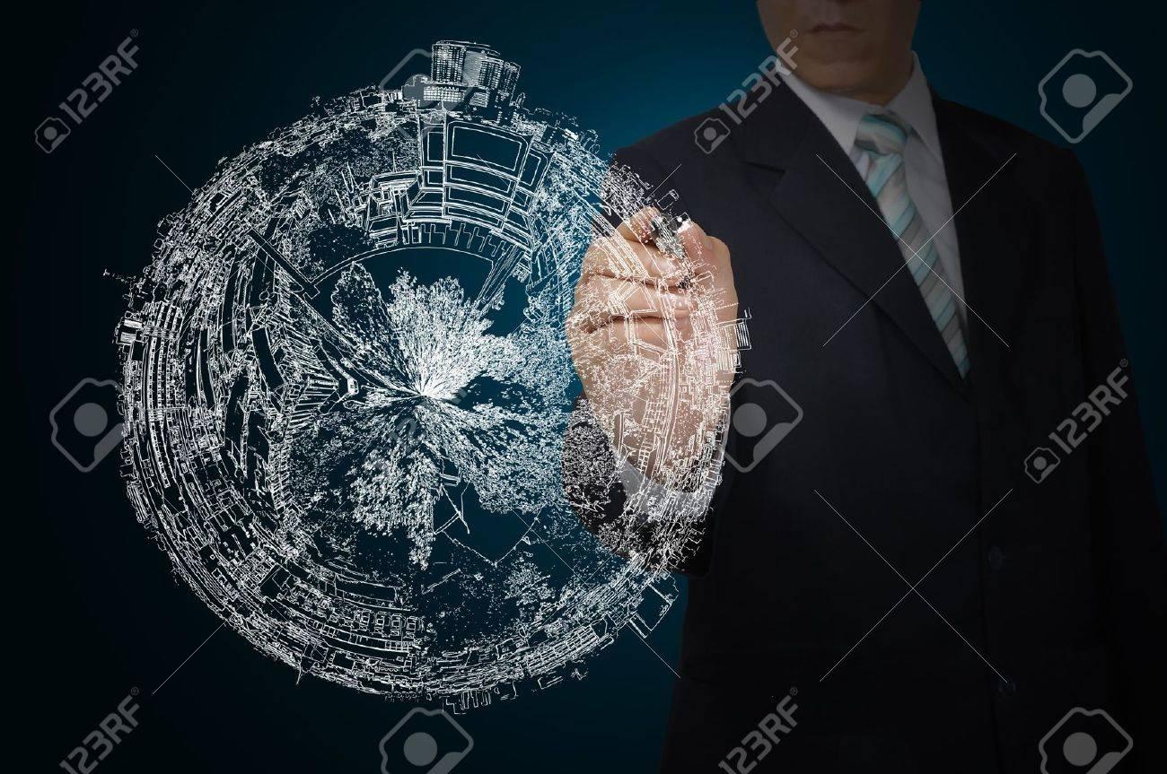 Business Man Drawing earth globe Stock Photo - 12465369