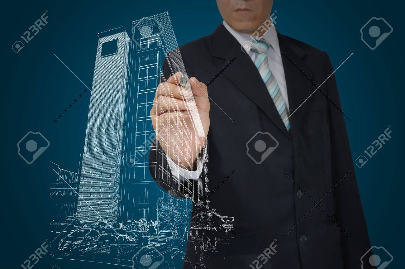 Business Man Drawing building and cityscape Stock Photo - 12465361