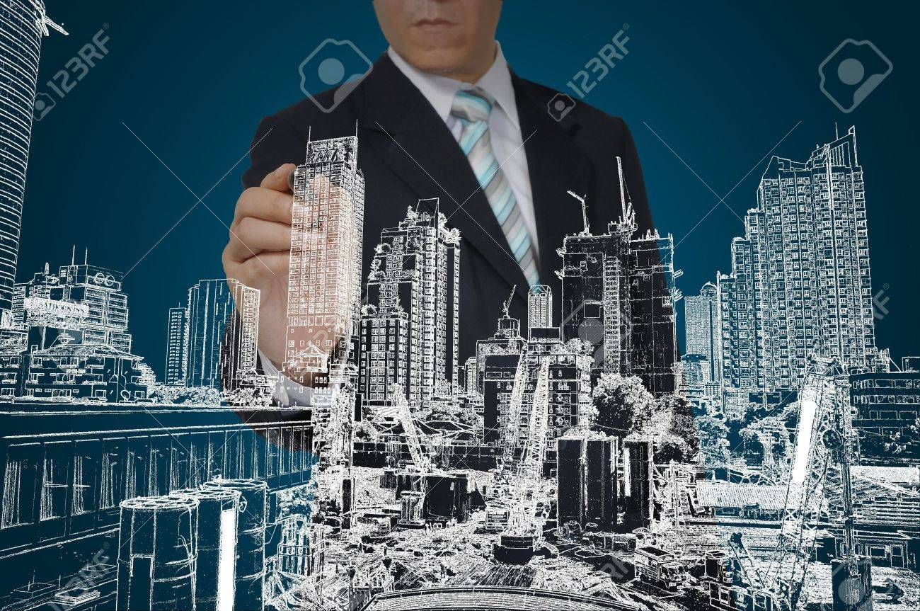 Business Man Drawing building and seascape Stock Photo - 12774485