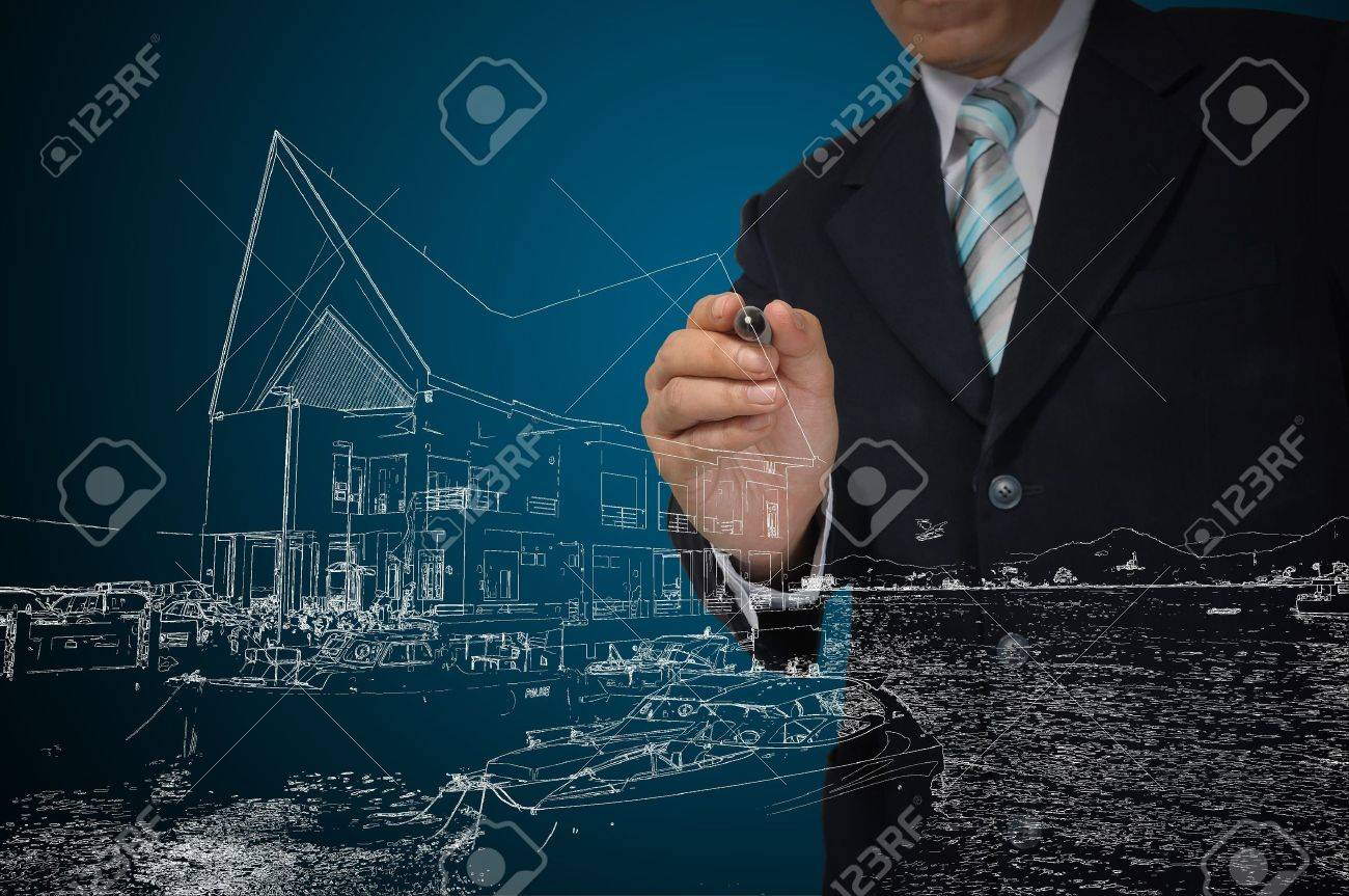 Business Man Draw House on Real Estate concept Stock Photo - 12803188