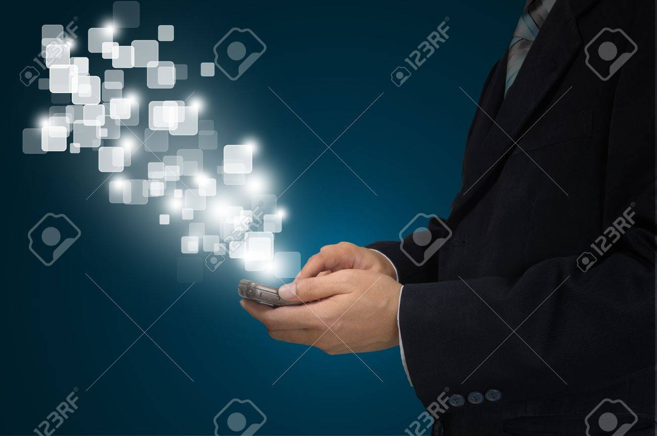 Hand of Business Man Pressing or Pushing touch screen of Mobile Smartphone Stock Photo - 12803074