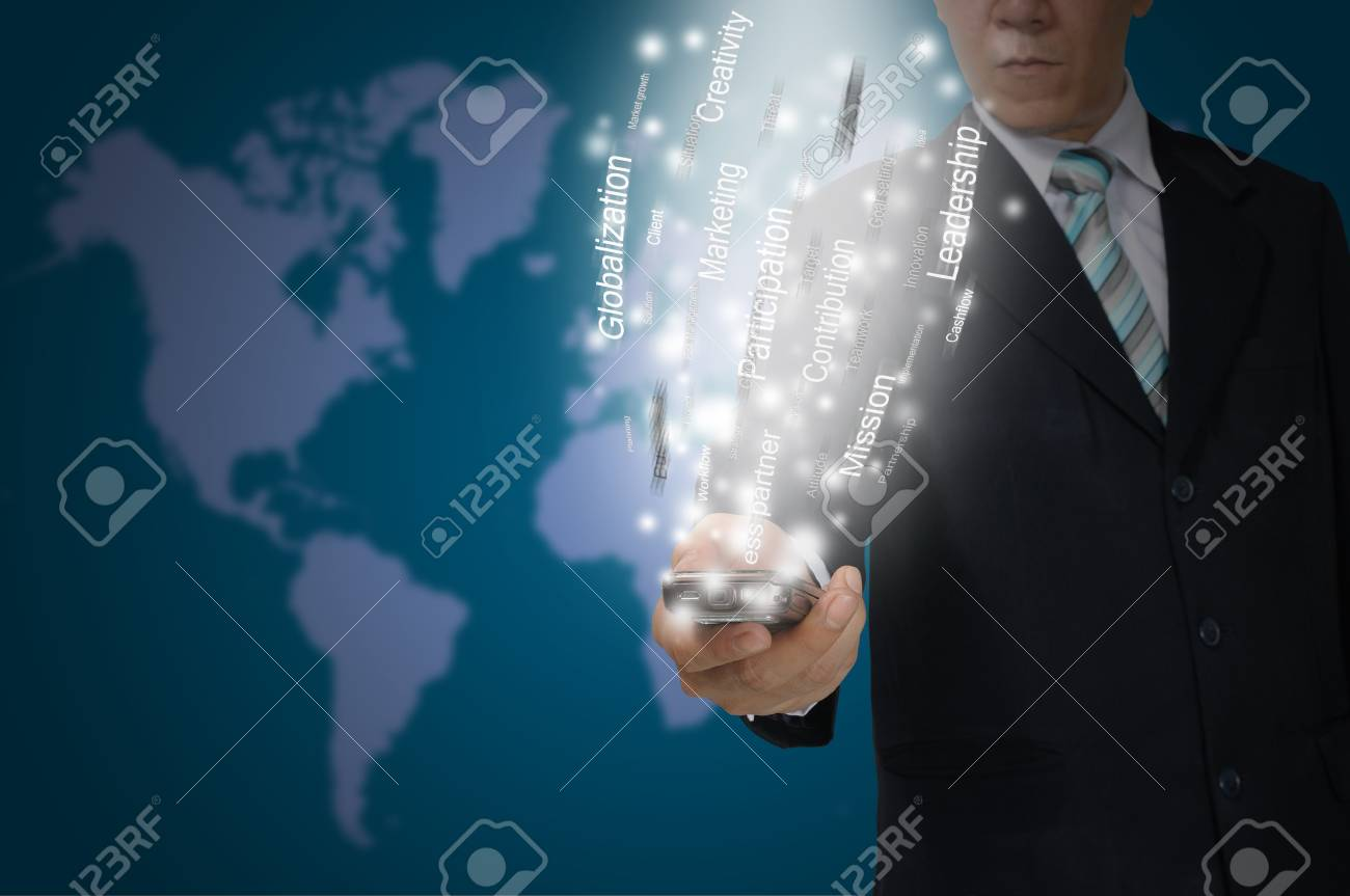 Business Man hold smartphone send the business data Stock Photo - 13215466