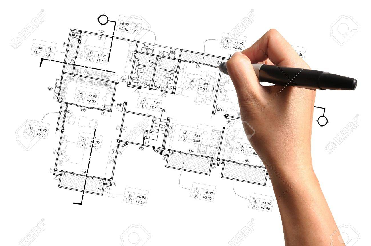 Hand Of Business Man Draw Architect Or Home Plan Photo – How To Draw A Site Plan By Hand