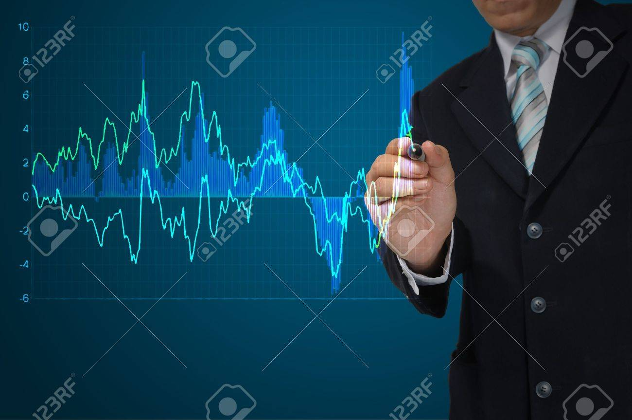 Business Man write graph Stock Photo - 14417581