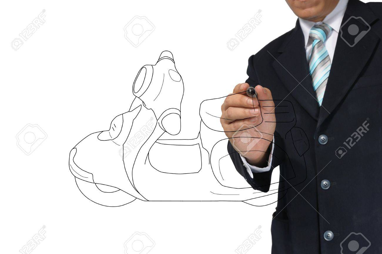 Business Man drawing scooter or motorcycle Stock Photo - 15300951