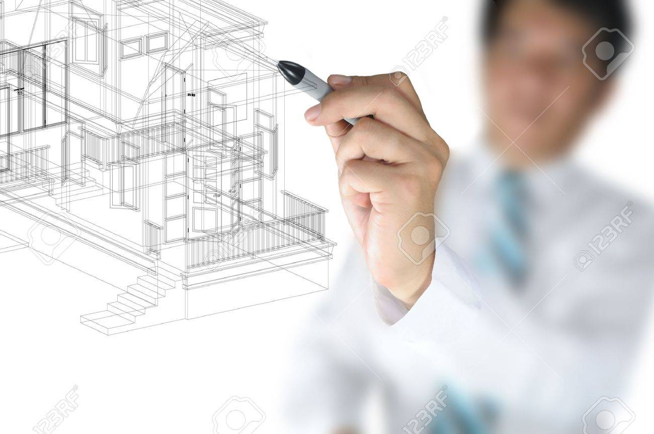Hand Of Business Man Or rchitect Draw 3D rchitectural Home ... - ^