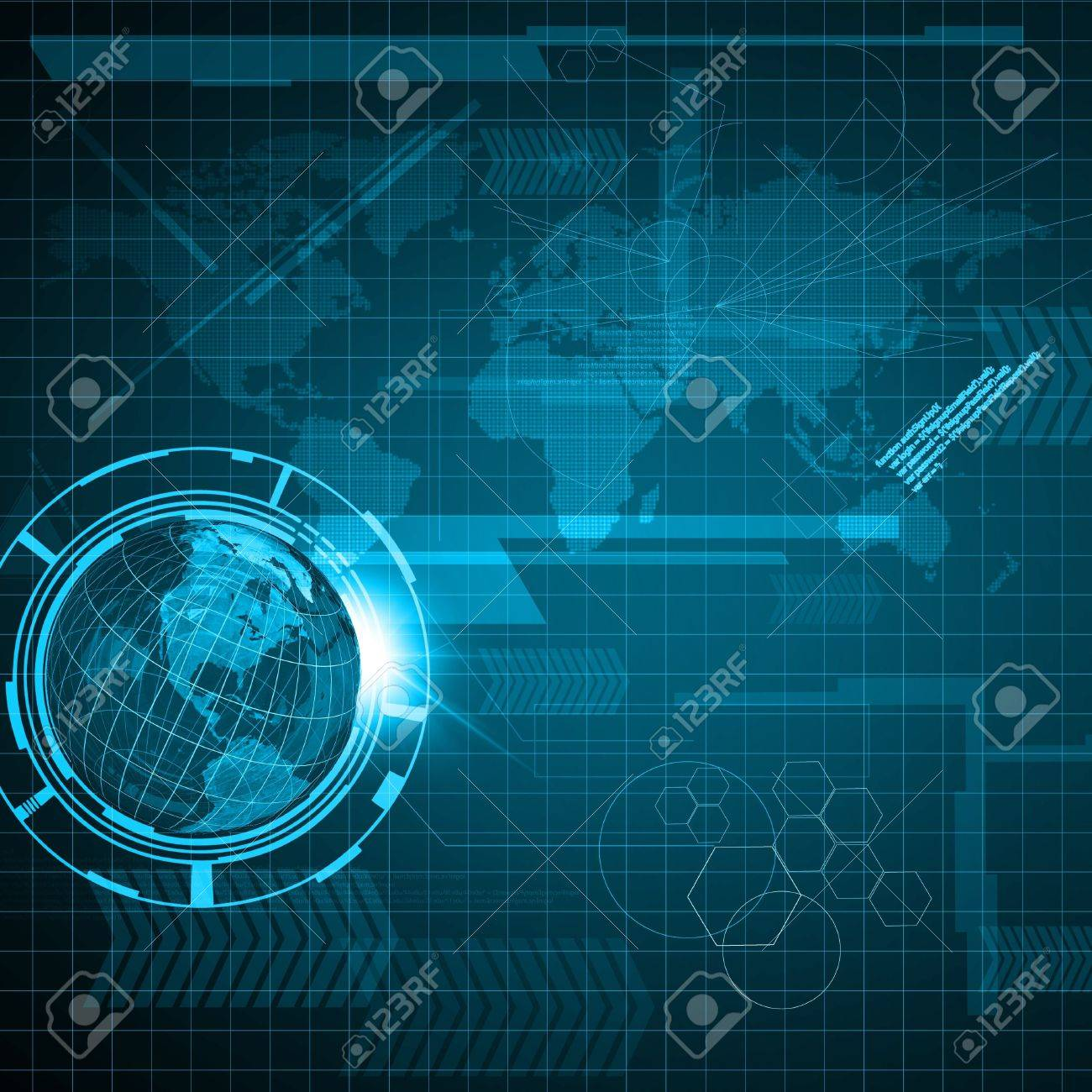 Background of Technology and Earth globe Stock Photo - 15885217