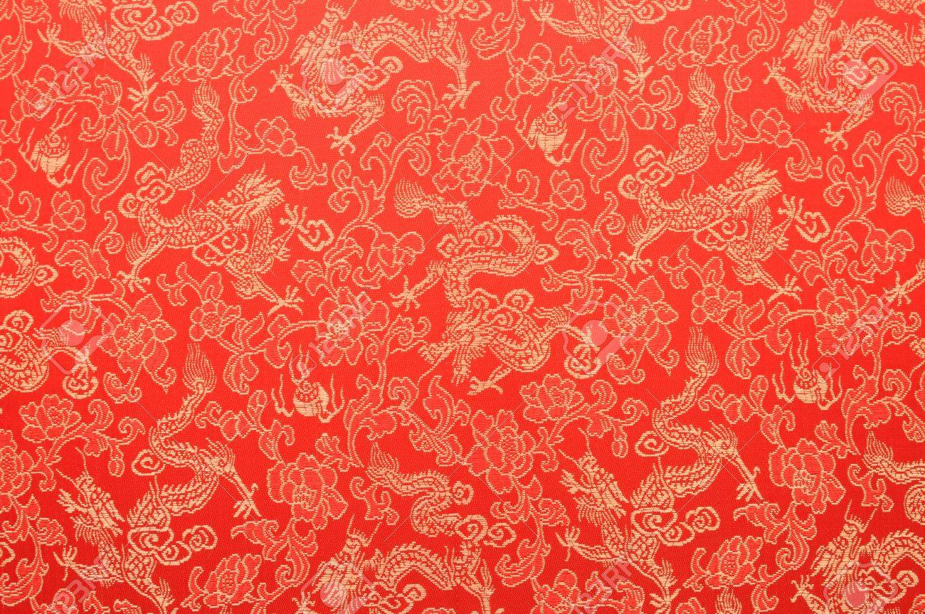 dc12814a6 Fragment of red chinese silk with golden dragons and flowers Stock Photo -  17994315