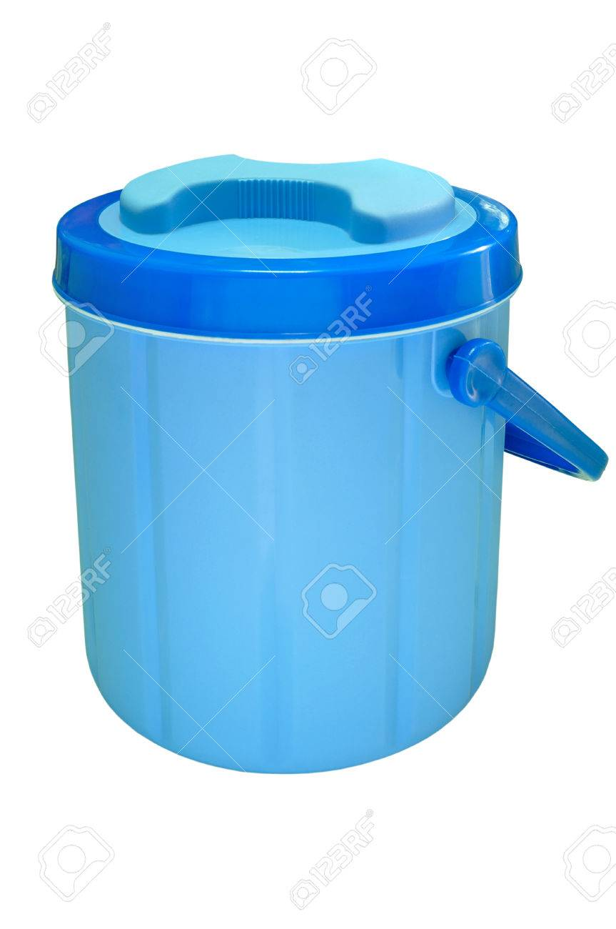 Blue Plastic Water Canteen Or Plastic Ice Bucket On White Background Stock Photo Picture And Royalty Free Image Image 29664233