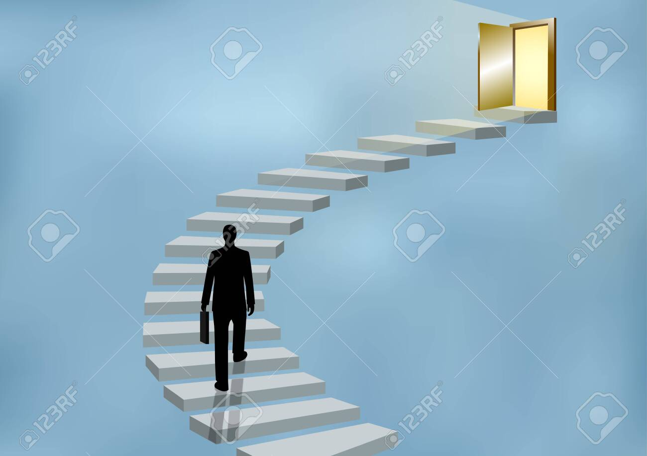 Businessmen walk up the stairs to the door. Step up the ladder to success, goal in life, and progress in the job. Of the highest organization. Business Finance Concepts. Vector illustrations - 129289118