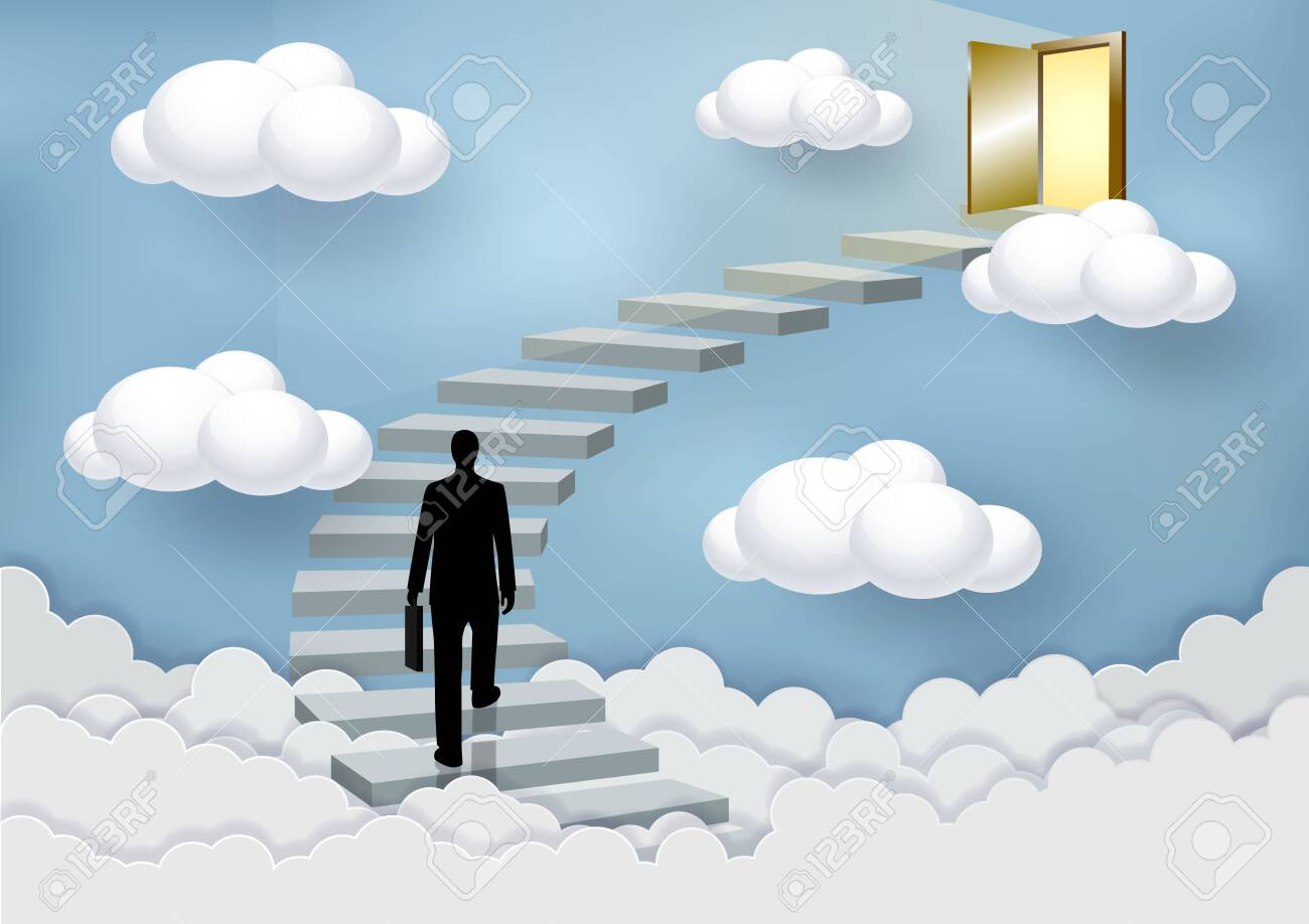 Businessmen walk up the stairs to the door in the sky above the clouds. Step up the ladder to success and progress in the highest organizational tasks. Business Finance Concepts. Vector illustrations - 129289201