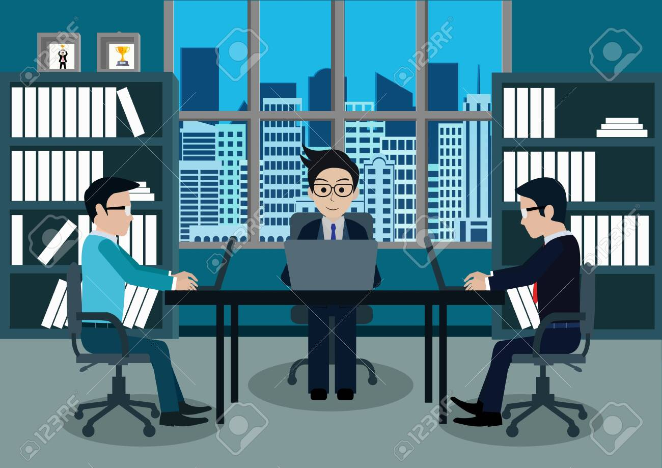 Businessman three in worker in office sit at the desks with notebook. workspace with table and computer. Big boss office. There is furniture a blue background in the picture. vector illustration - 129290631