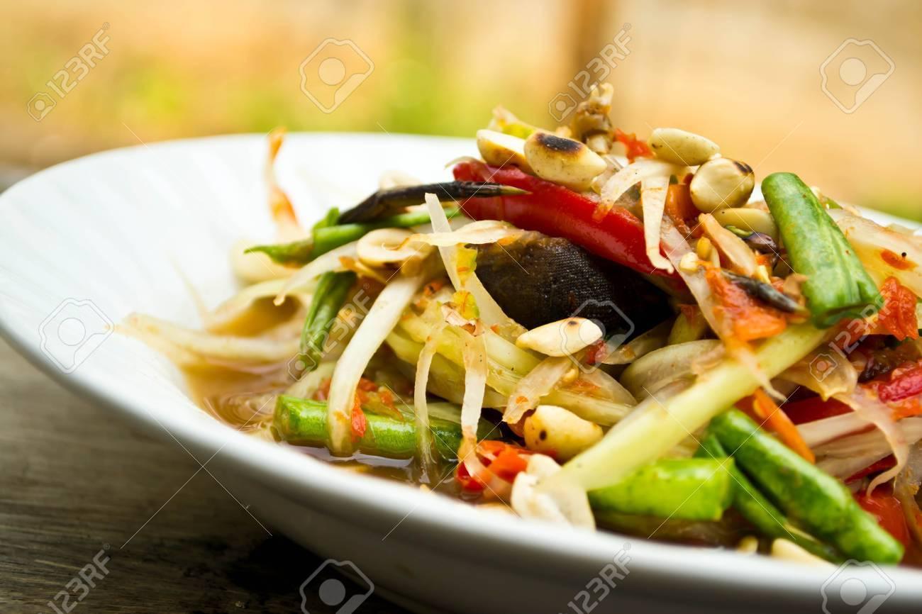 Green papaya salad, Thai food Stock Photo - 19310479