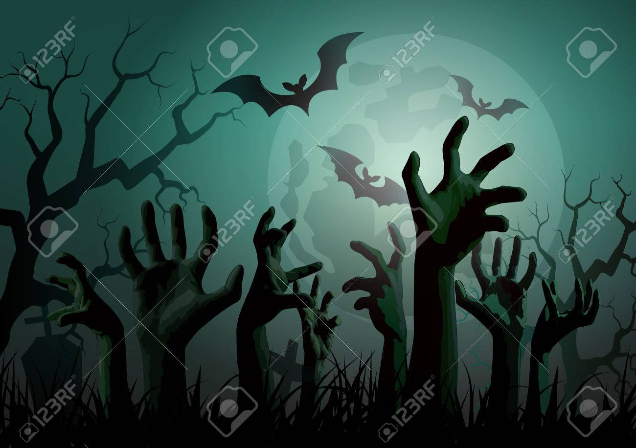 Illustration of Halloween Zombie Party. - 31995588