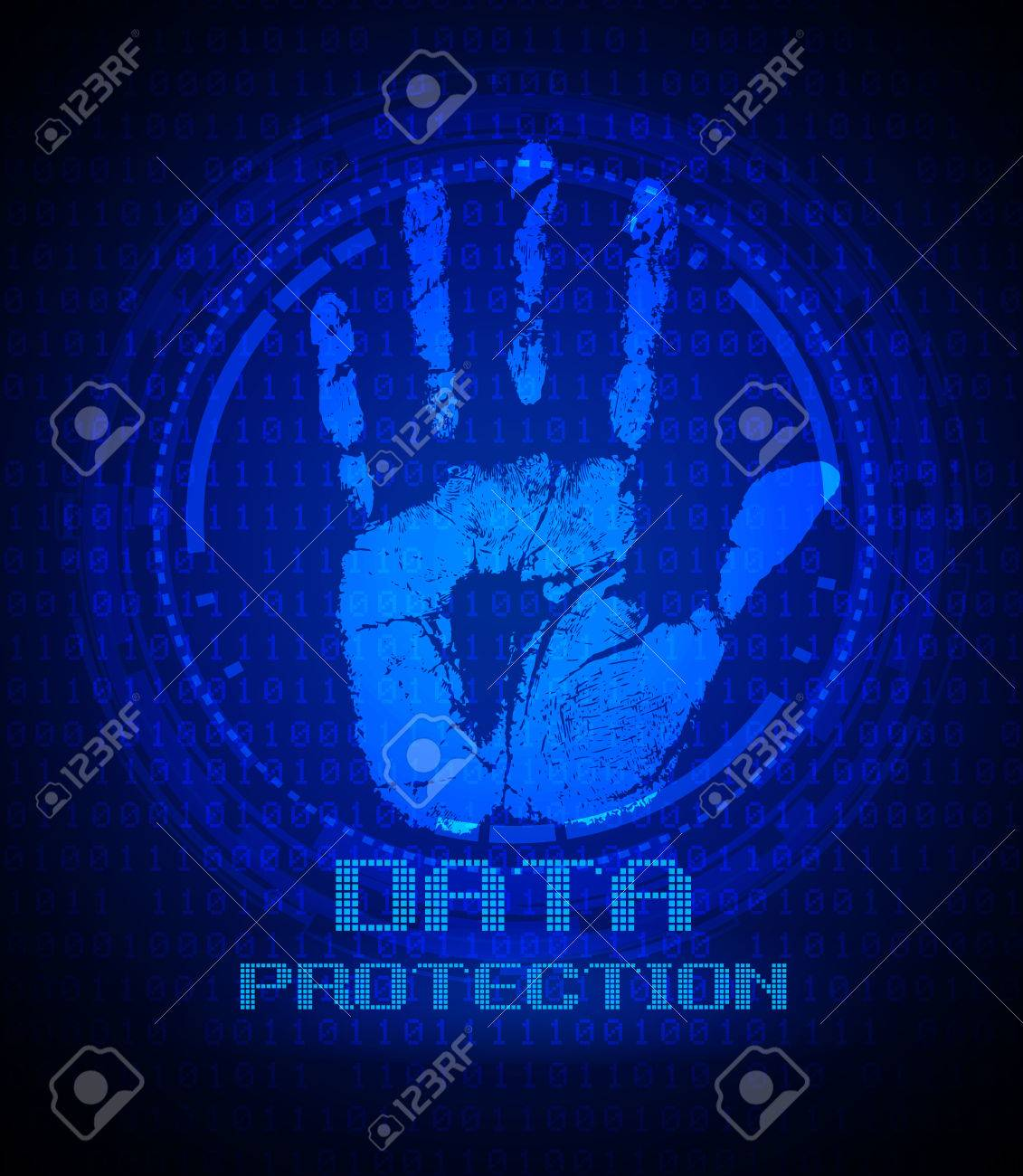 Security Concept Handprint And Data Protection On Digital Screen
