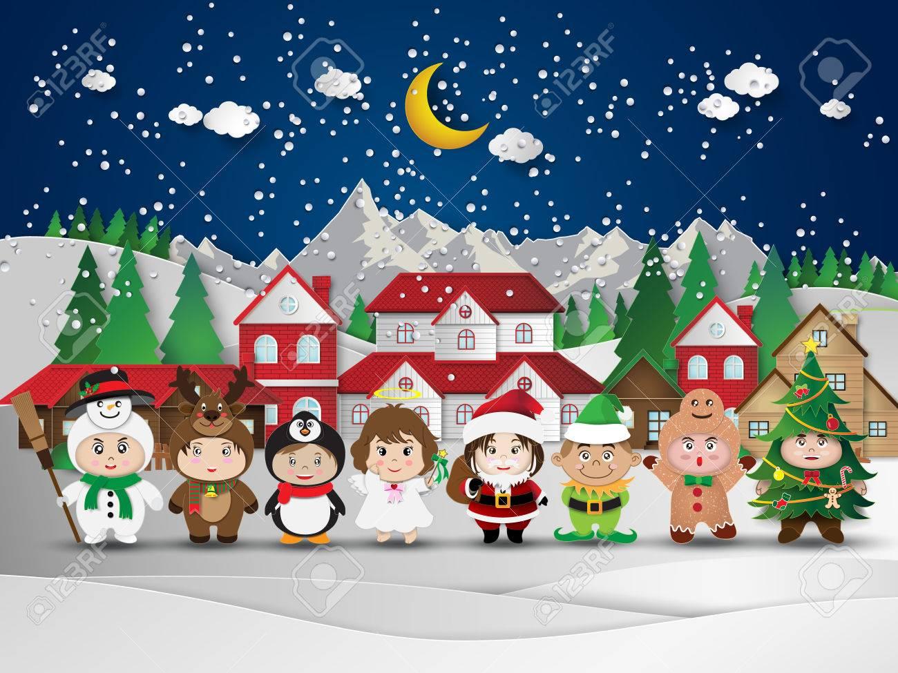 Christmas cute kids.vector illustration. - 50001411