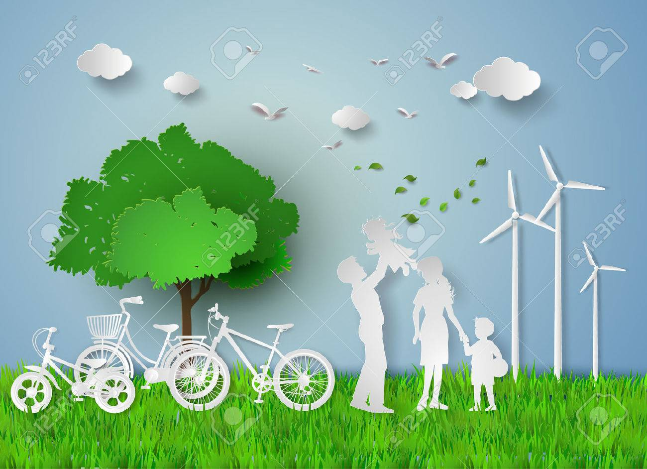 concept of eco with family.paper cut style - 51079995