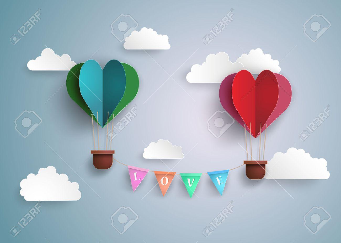 Origami made hot air balloon in a heart shape. - 52336328