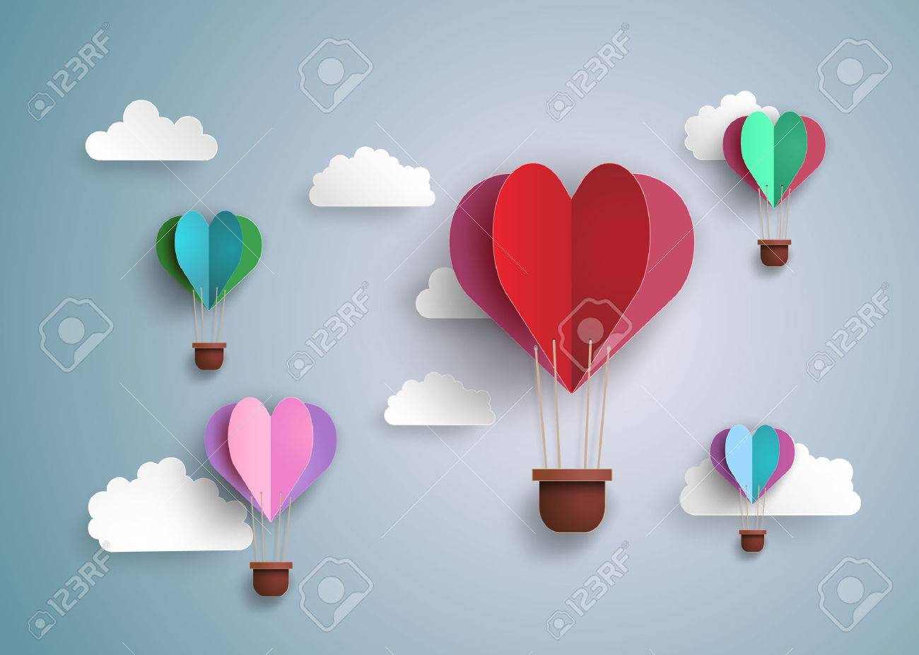 Origami made hot air balloon in a heart shape. - 52336340
