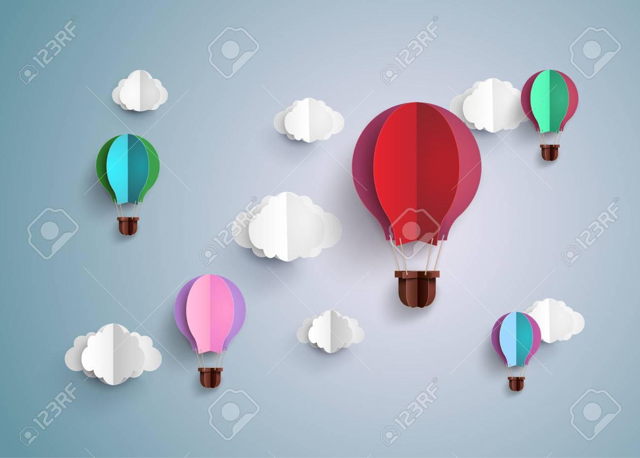 Origami made hot air balloon and cloud royalty free cliparts origami made hot air balloon and cloud stock vector 54018444 jeuxipadfo Choice Image