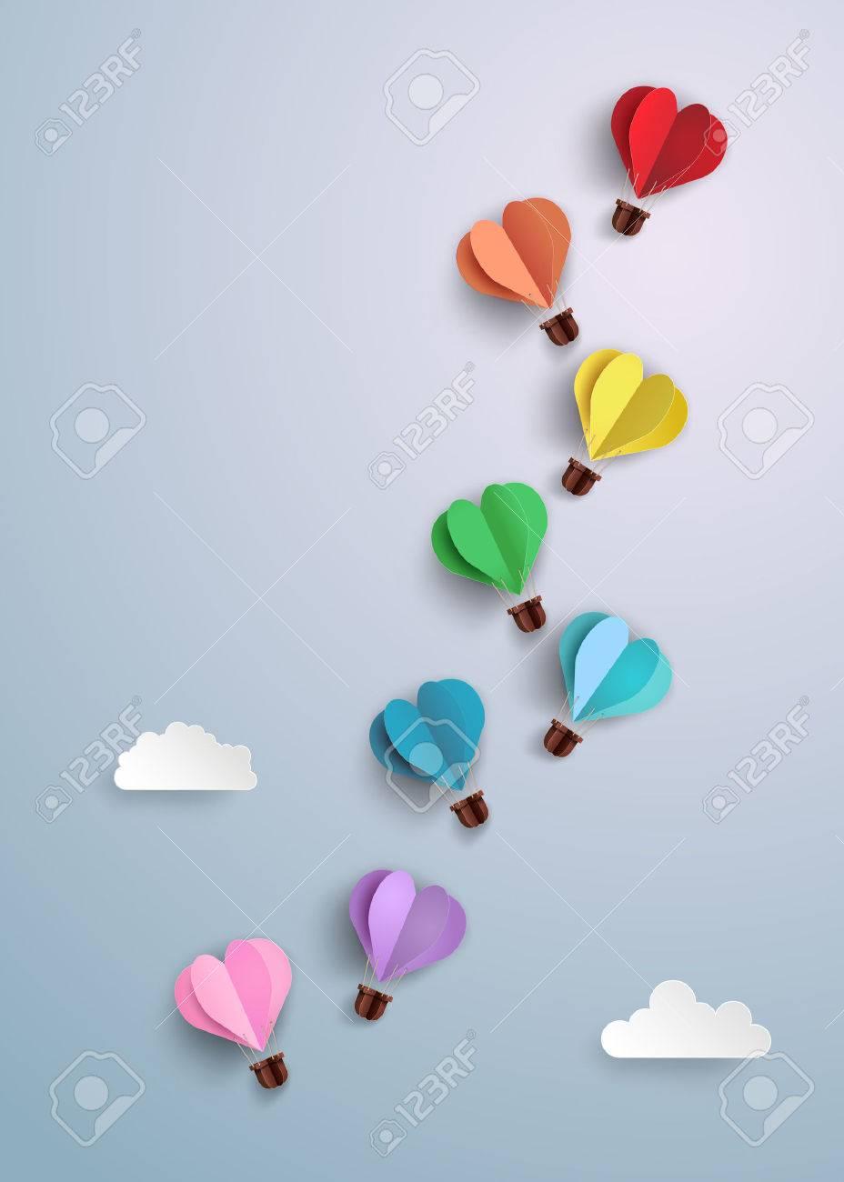 Origami made hot air balloon in a heart shape royalty free origami made hot air balloon in a heart shape stock vector 54021375 jeuxipadfo Choice Image