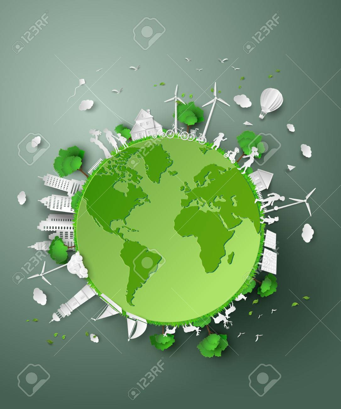 concept of eco .paper cut style - 59206963