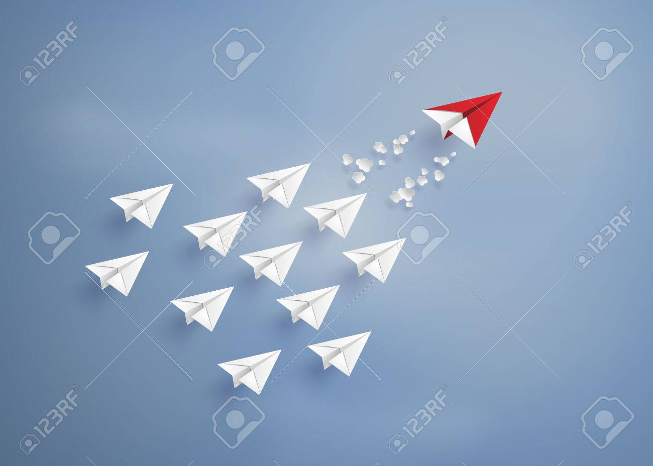 leadership concept with red and white paper plane on blue sky.paper art style. - 59843513