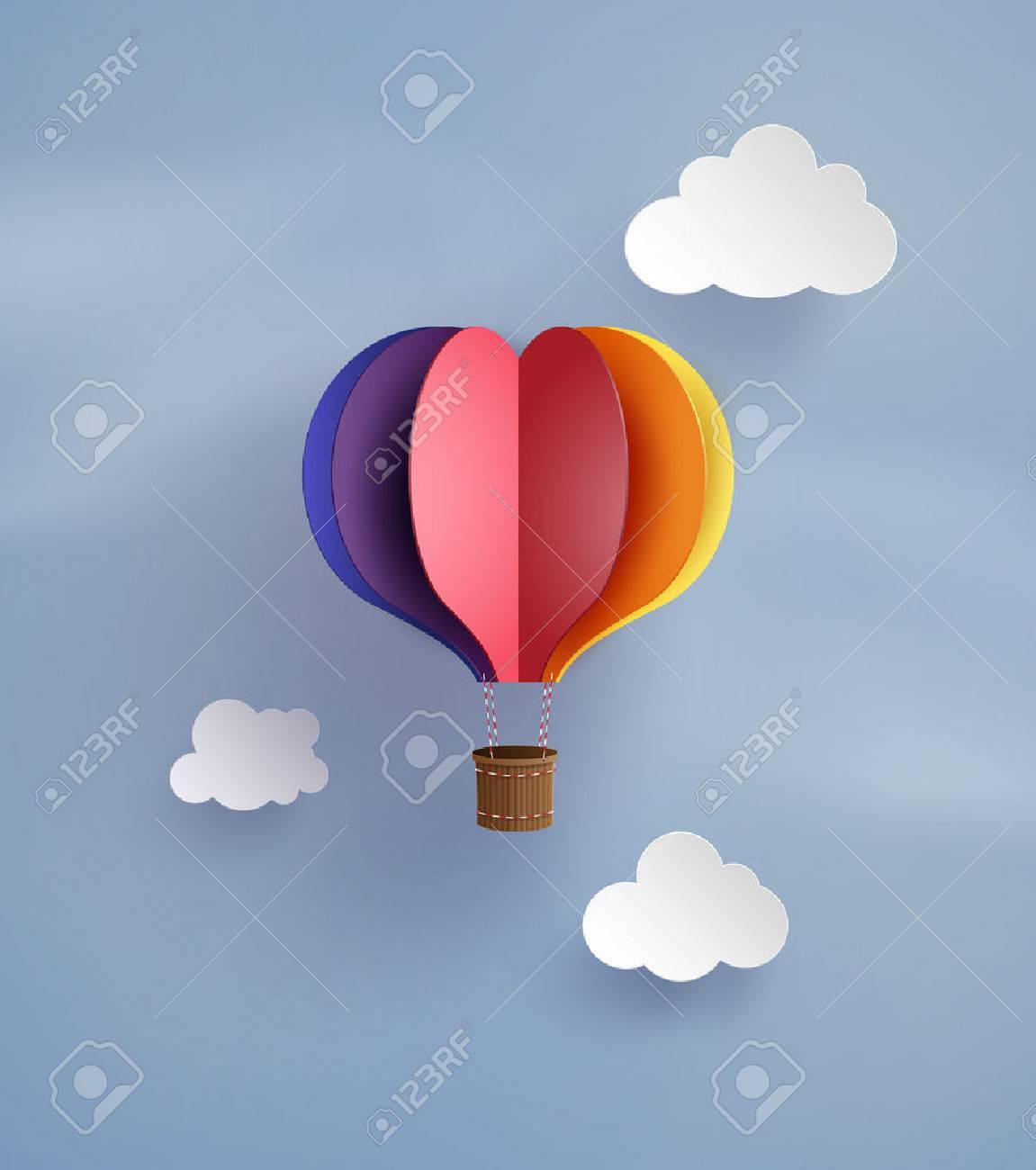 Origami made hot air balloon in a heart shape royalty free origami made hot air balloon in a heart shape stock vector 63619547 jeuxipadfo Choice Image