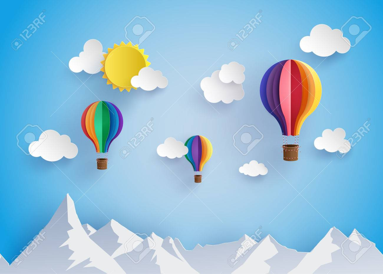 Origami made colorful hot air balloon flyin over moutain with cloud.paper art style. - 63619556