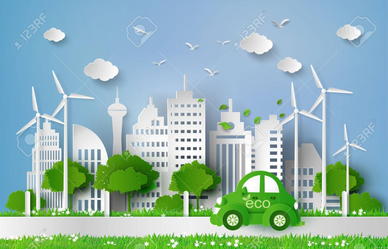Eco-friendly car in the city.paper art style. - 63620012