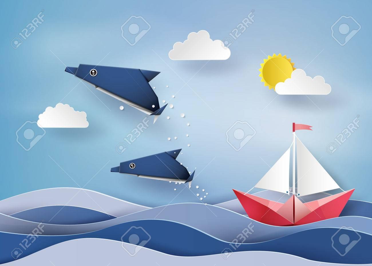 Origami Fait Dauphins Et Bateau A Voile Float Sur Mer Paper Style Art Clip Art Libres De Droits Vecteurs Et Illustration Image 66370188
