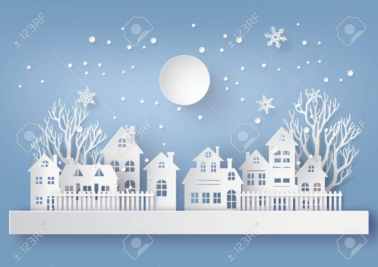vector winter snow urban countryside landscape city village with full moonhappy new year and merry christmaspaper art and craft style