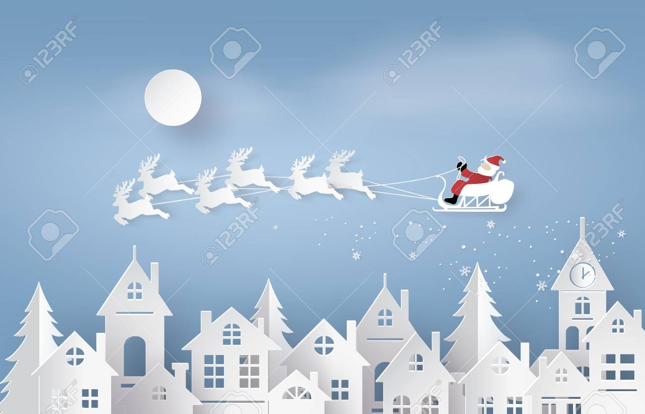 Merry Christmas and Happy New Year. Illustration of Santa Claus on the sky coming to City ,paper art and craft style - 90455331