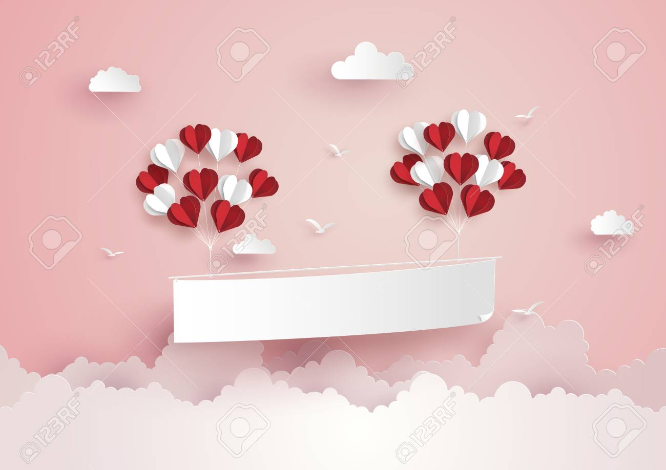 Illustration of Love and Valentine Day,Paper hot air balloon heart shape floating on the sky , Paper art and craft style. - 92599764