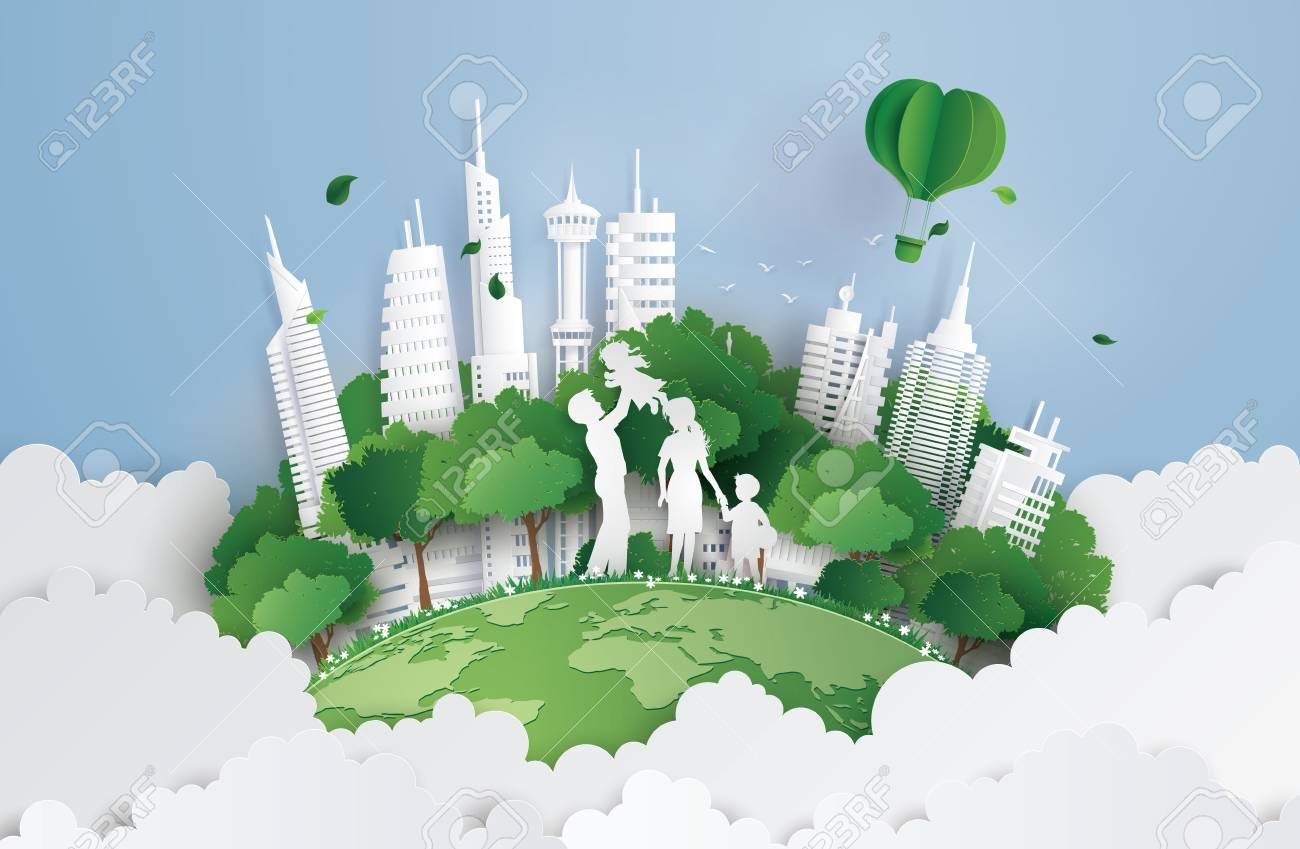 concept of green city with family.paperart and digital craft style. - 102880136