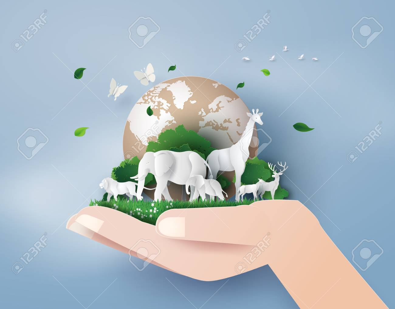 Concept of World Wildlife Day with the animal in forest , Paper art and digital craft style. - 102410569