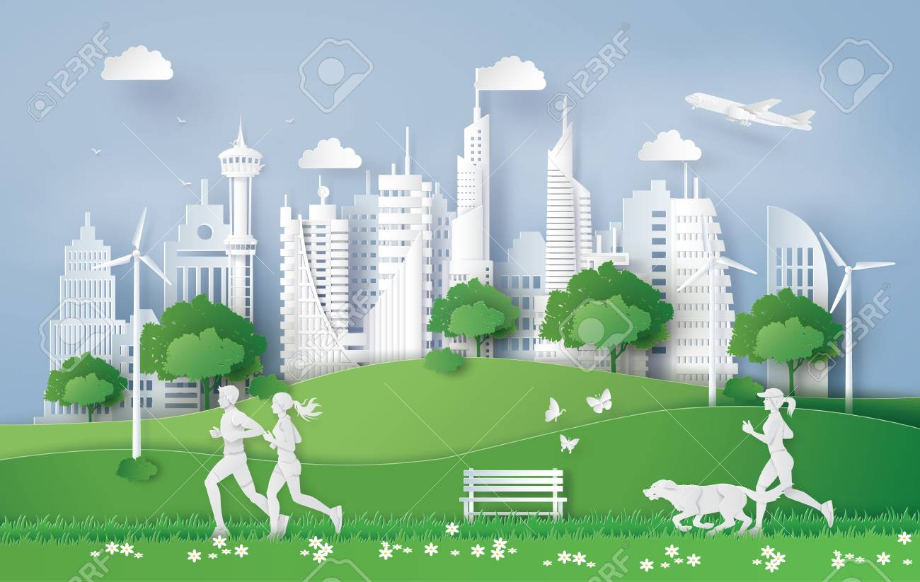 Illustration of eco concept,green city in the leaf. Paper art and digital craft style. - 103163331