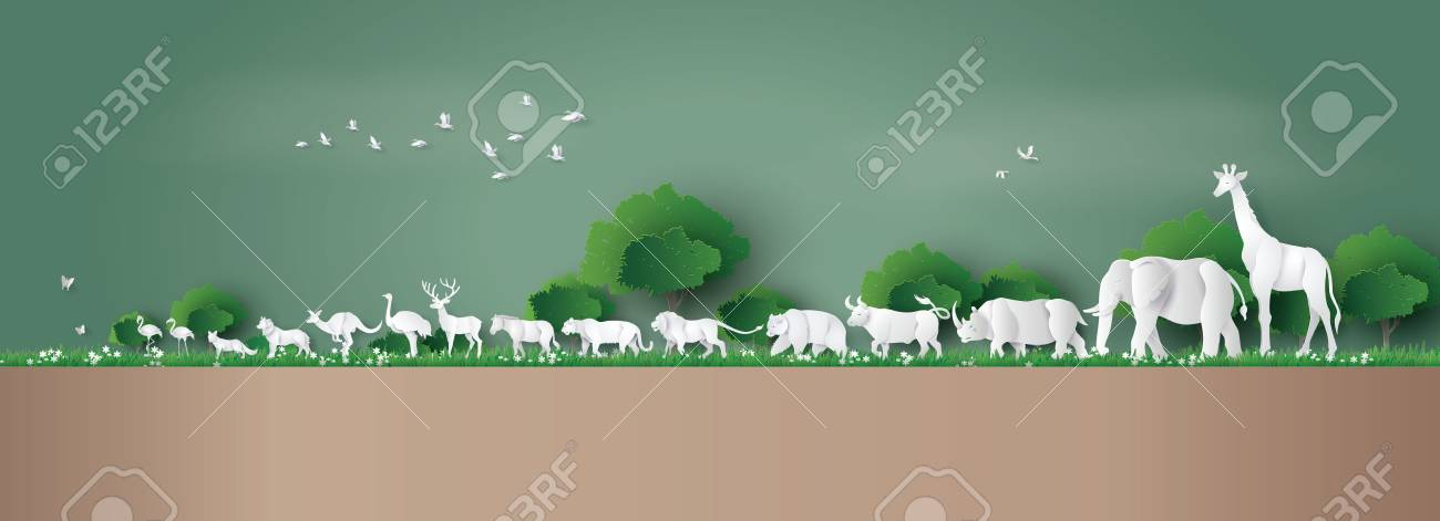 World Wildlife Day with the animal in forest , Paper art and digital craft style. - 103163334