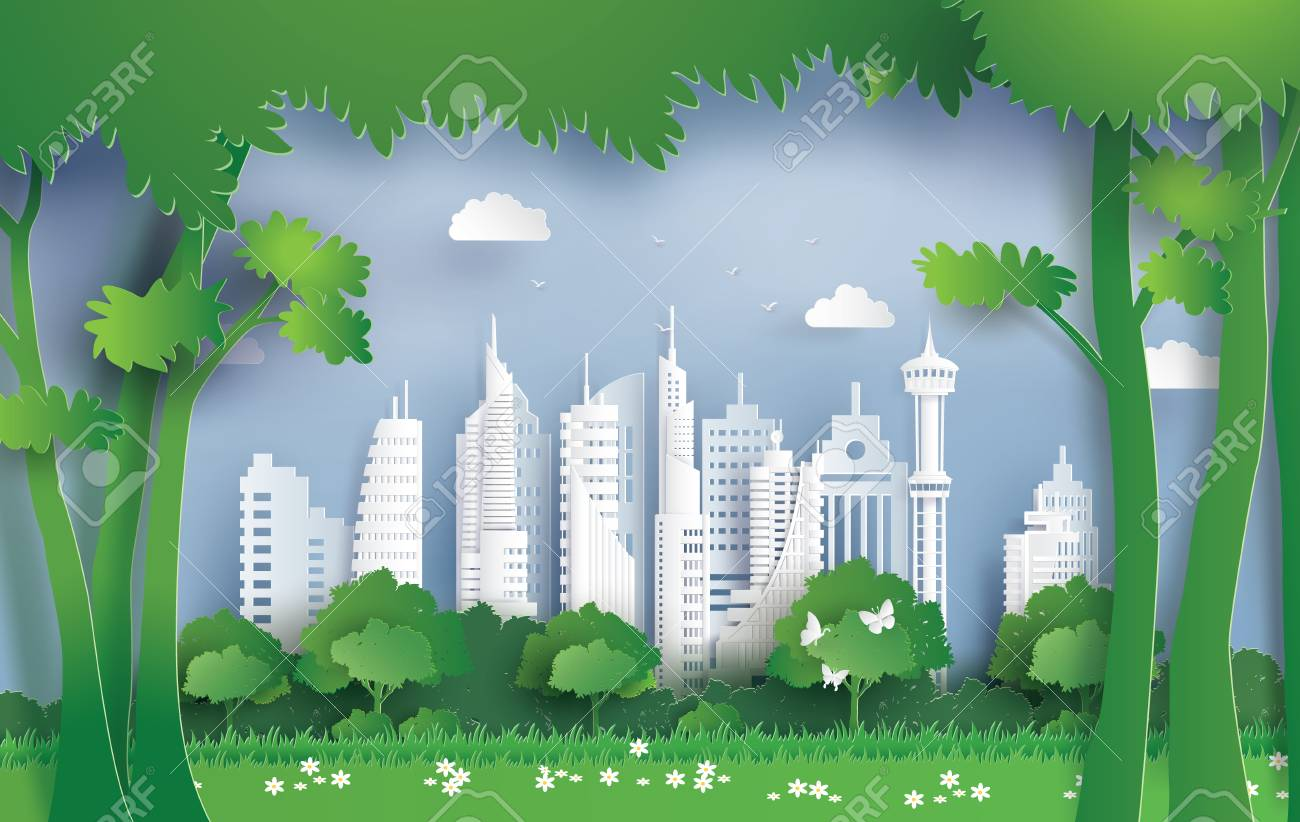 Illustration of ecology and environment with green city. Paper art and digital craft style. - 103079211