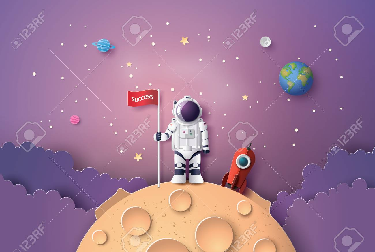 Astronaut with Flag on the moon, Paper art and digital craft style. - 104106113