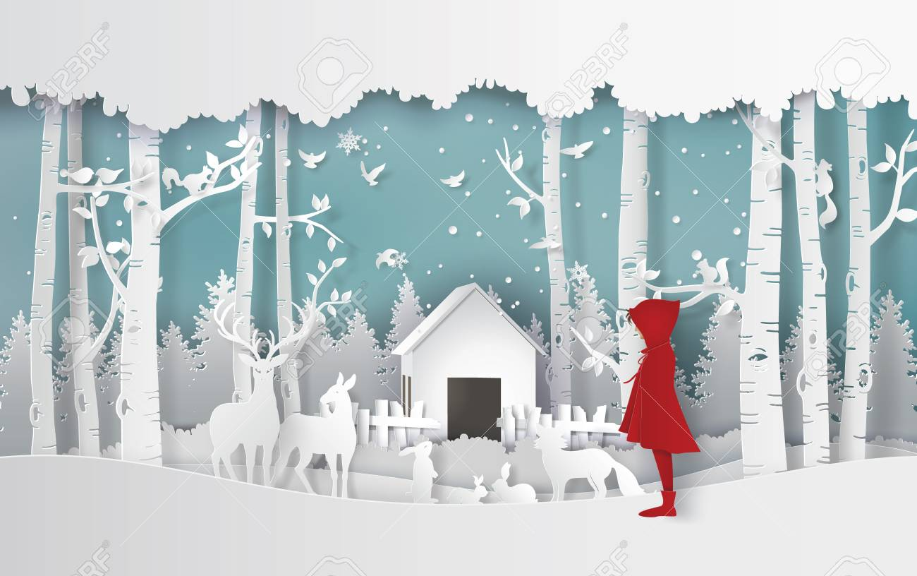 winter season with the girl in red coat and the animal in the jungle.Paper art and craft style. - 115212284