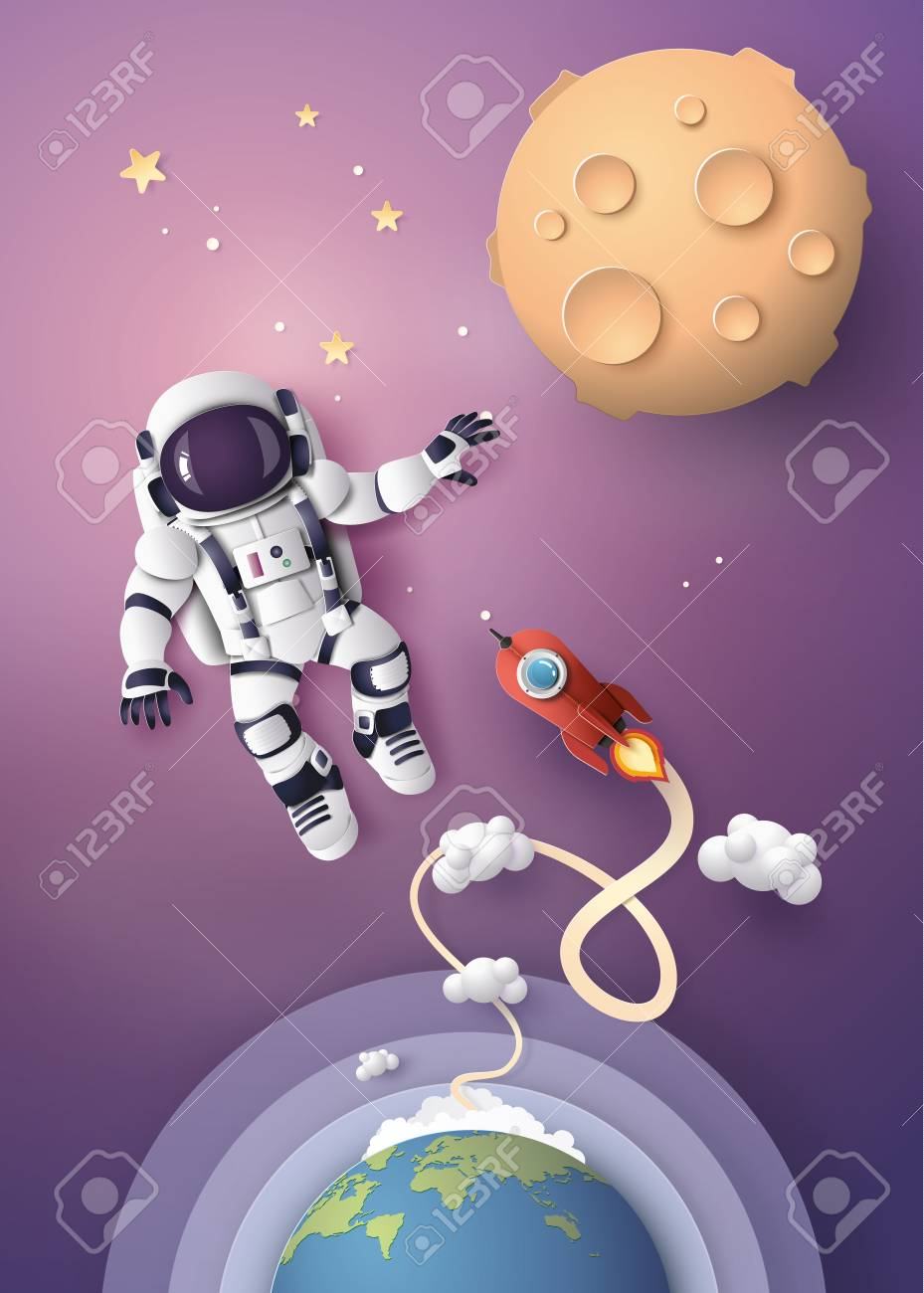 Astronaut Astronaut floating in the stratosphere. Paper art and craft style. - 109235633