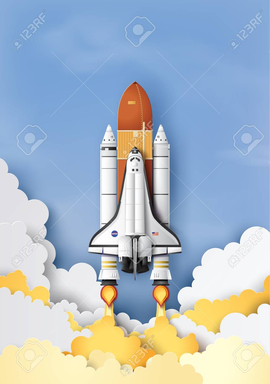 Business concept space shuttle launch to the sky, Paper art and craft style. - 109235637