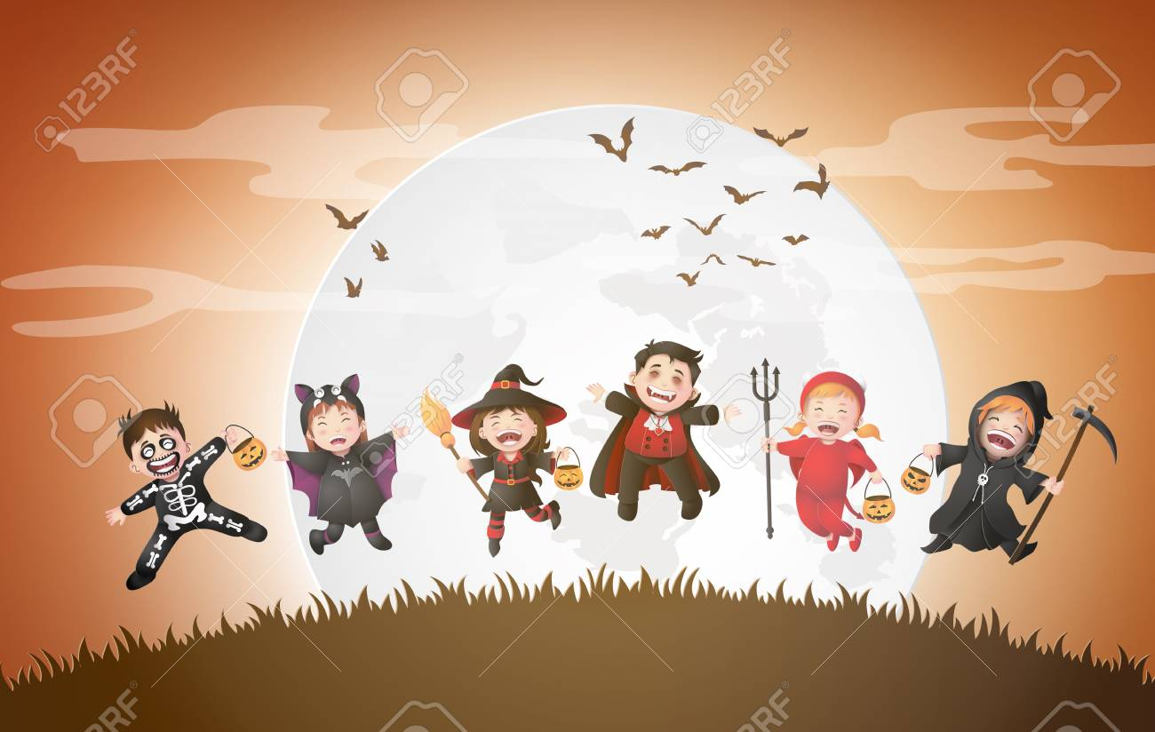 Happy Halloween party with group children in Halloween costumes. - 109235643