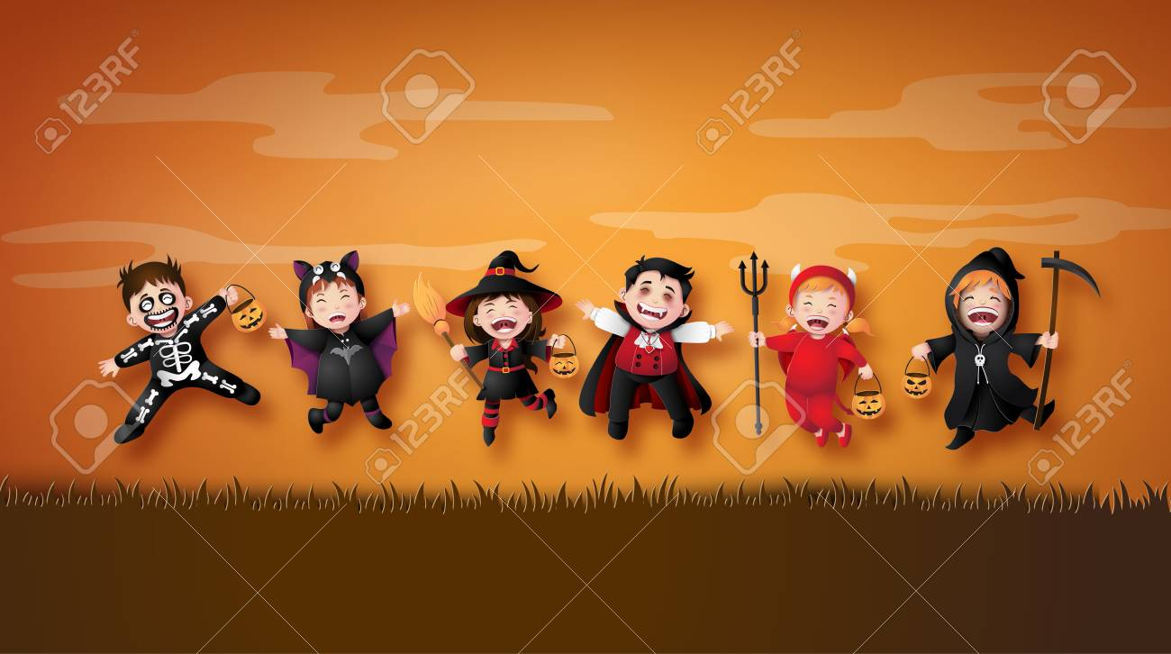 Happy Halloween party with group children in Halloween costumes. Illustration of paper art - 109235646