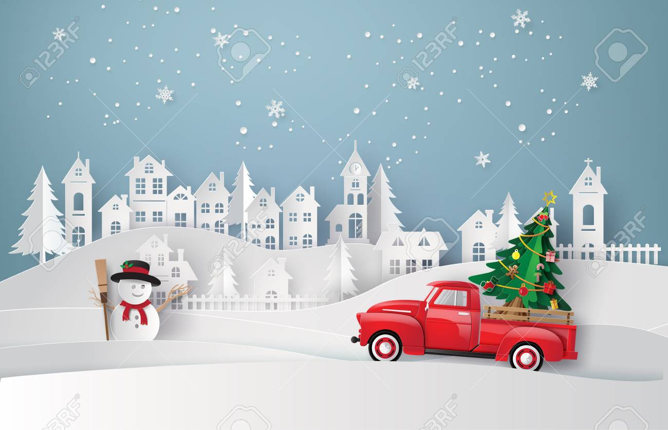 Peper art of Merry Christmas and winter season with red truck carry christmas tree. - 113771632