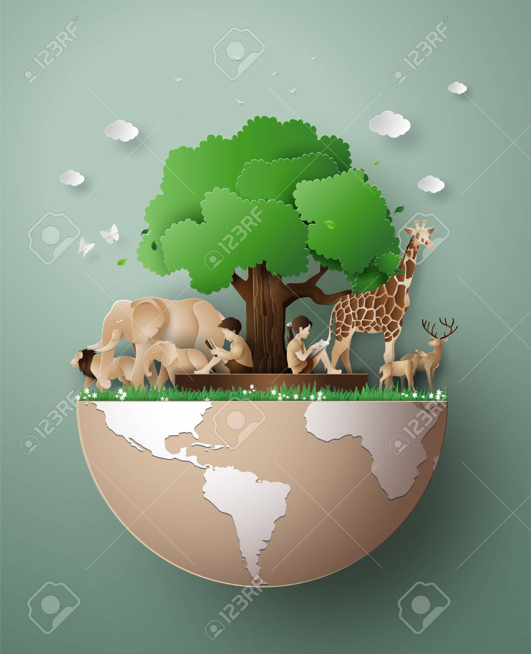 World Wildlife Day with the animal in forest , Paper art and digital craft style. - 119957094